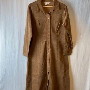 Wintersilk Corduroy front button shirt dress